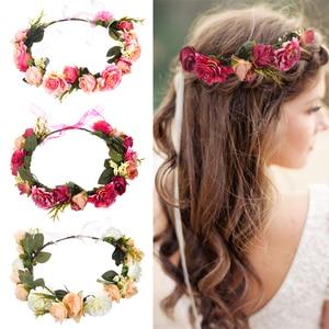 M MISM Bride Women Flower Crown Hair Band Wedding Floral Headband Garland Ribbon Bow Girl Flower Wreath Elastic Hair Accessories(China)