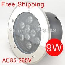 Free Shipping 85 265V IP65 RGB High Power 9W LED Buried Light underground lamp Inground Lighting