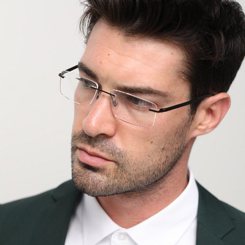 Optical Clear Rimless Frame Transparent Glasses Myopia Computer Eyeglasses Men Prescription Eyewear Spectacles Unique Hinge#8028