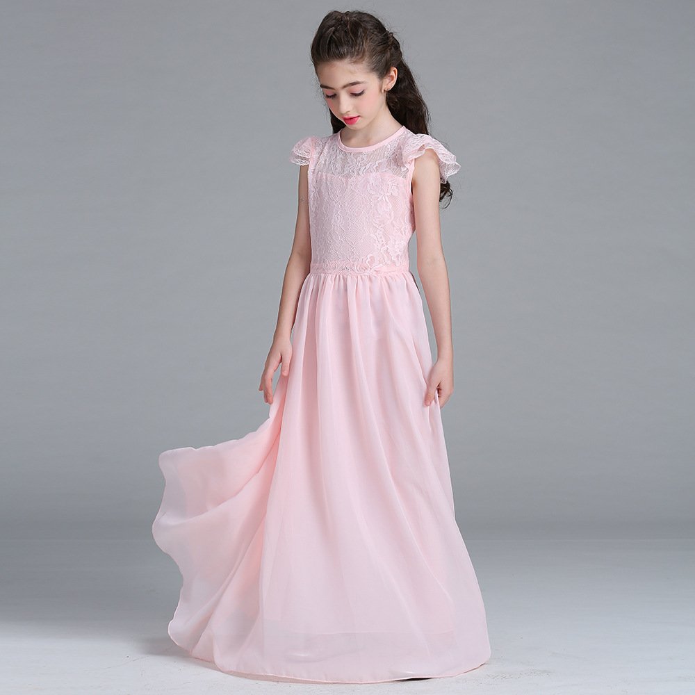 Chic Girls Dress Flower Lace Long Dress Graduation Gowns Dresses Girlevening Wedding Dresses Vestidos De Festa Infantil Dresses Frommor Kids Girls Dress Flower Lace Long Dress Graduation Gowns Dresses wedding dress Dresses For Graduation