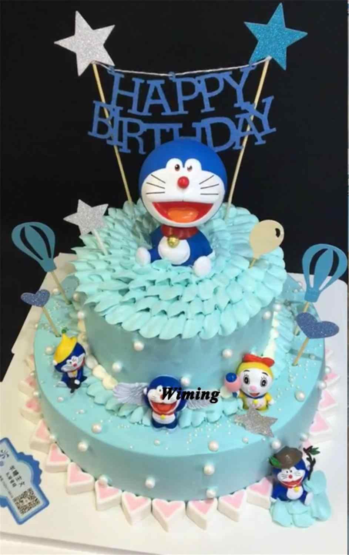 Doraemon Birthday Cake Topper Boys Kids Toys Baby Children Birthday Party Supplies Decoration Cupcake Toppers Birthday Cat Toy Cake Decorating Supplies Aliexpress
