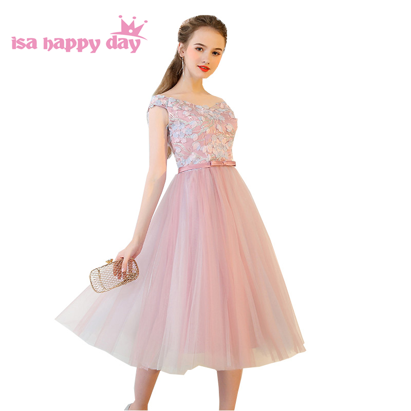 Detail Feedback Questions about tea length brides maids teenager dresses  formal off the shoulder blush lace top lace up back women dress xxl 2019  H4207 on ... a3ff5578b9b9