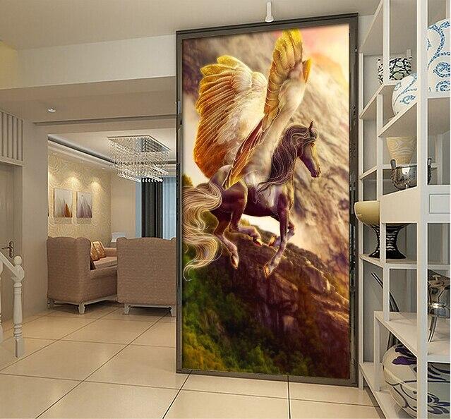Papier peint cheval 3D personnalisé, la peinture murale Pegasus dorée pour le salon couloir couloir fond mur textile tissu papier peint