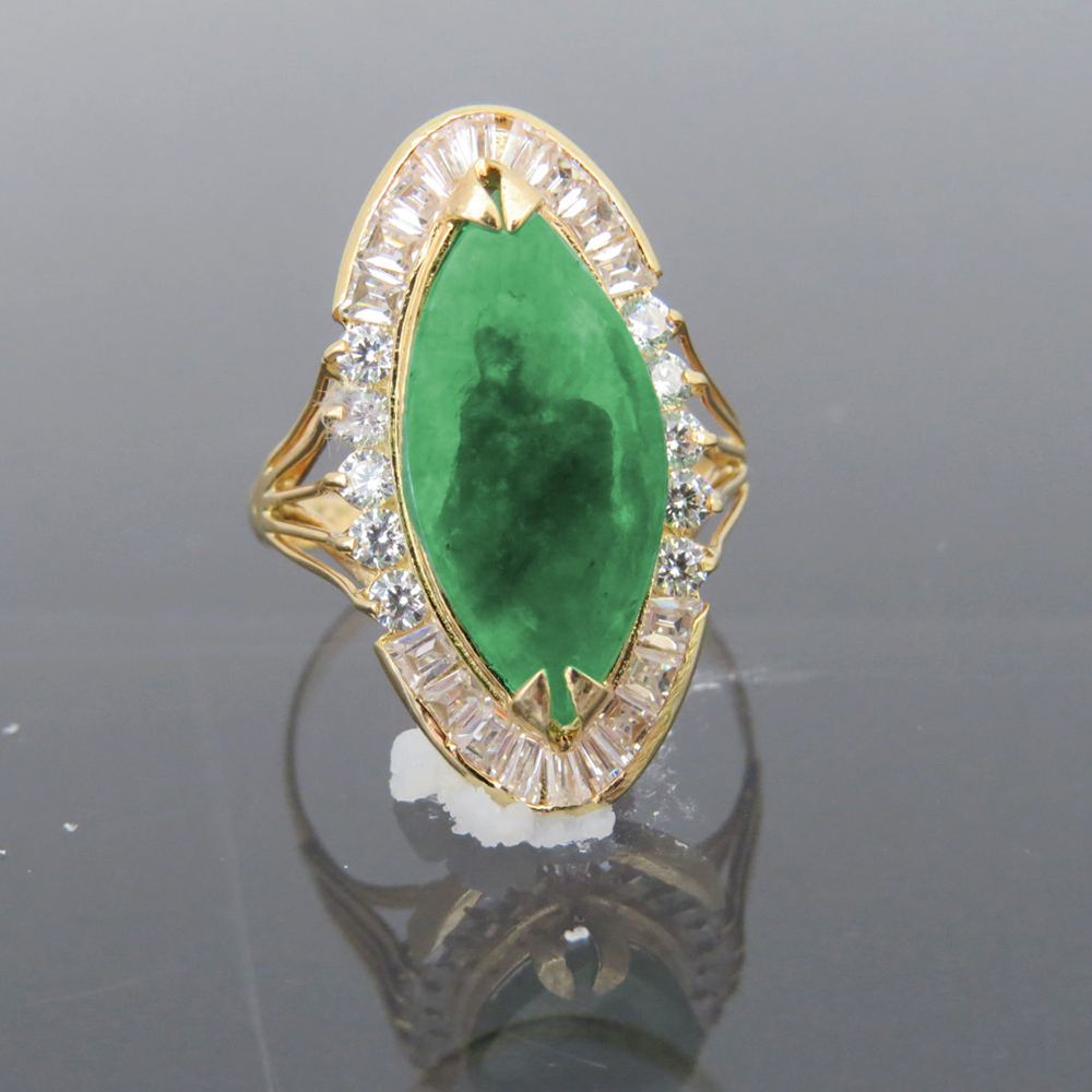 цены Solid 14K Yellow Gold Natural Emerald Green Jade & White Moissanite Halo Engagement Wedding Ring For Women