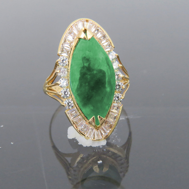 Solid 14k Yellow Gold Natural Emerald Green Jade White Moissanite Halo Engagement Wedding Ring For
