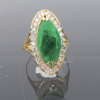 Solid 14K Yellow Gold Natural Emerald Green Jade & White Moissanite Halo Engagement Wedding Ring For Women
