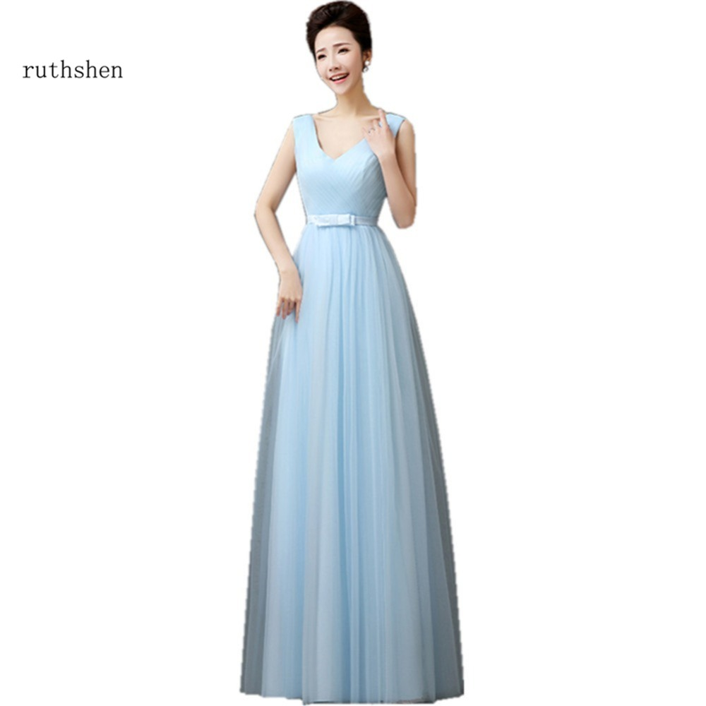 ruthshen Long   Bridesmaid     Dresses   2018 Blue Purple Pink Champagne Gray Pleated Tulle Under 50 Wedding Party   Dress