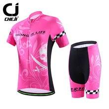 CHEJI Pink Skull Cycling Clothes Women's Novelty Cycling Jersey and Bike Padded Shorts Kit