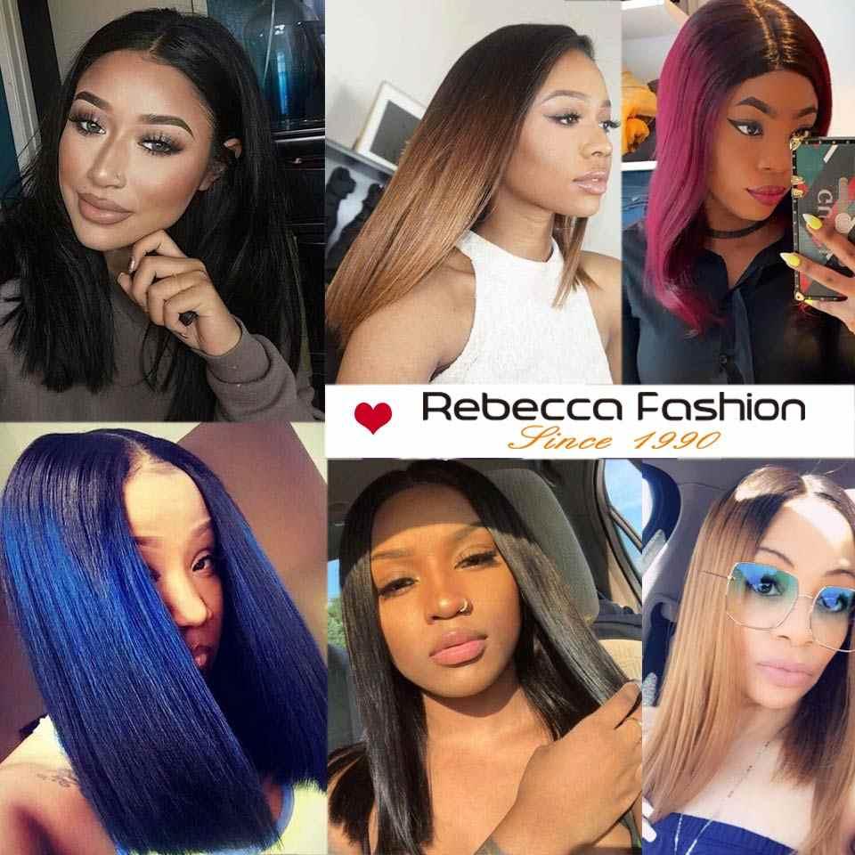Rebecca Korte Bob Cut Lace Front Pruiken Peruaanse Korte Menselijk Haar Pruiken Voor Zwarte Vrouw Ombre Rood Blauw Kleur Midden deel 10 Inch