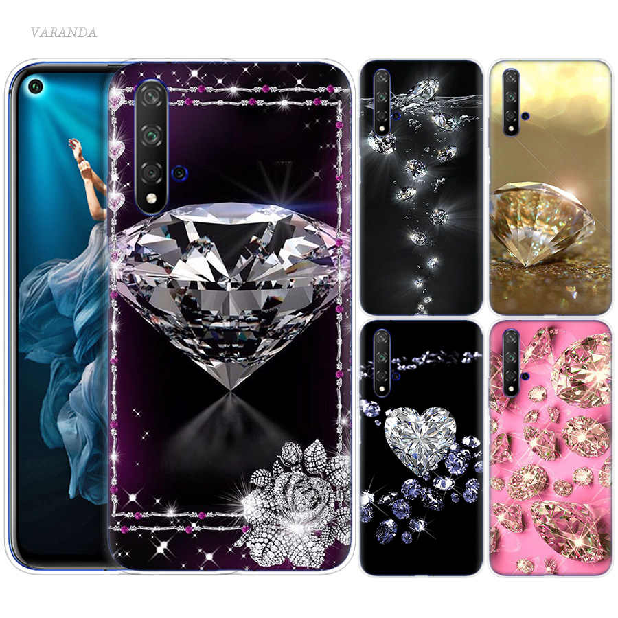 Diamonds Decoration Printed Case for Huawei Honor 8X 8C 8 9 10 20 Play 8A lite Pro V20 Y9 Y7 Y6 Y5 Prime 2018 2019 TPU Phone Bag