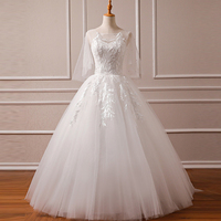 Real Photo New Wedding Dresses 2019 With Appliques Ivory Lace Leaves Design Pearls O neck Sleeveless wedding Gown Custom Sizes