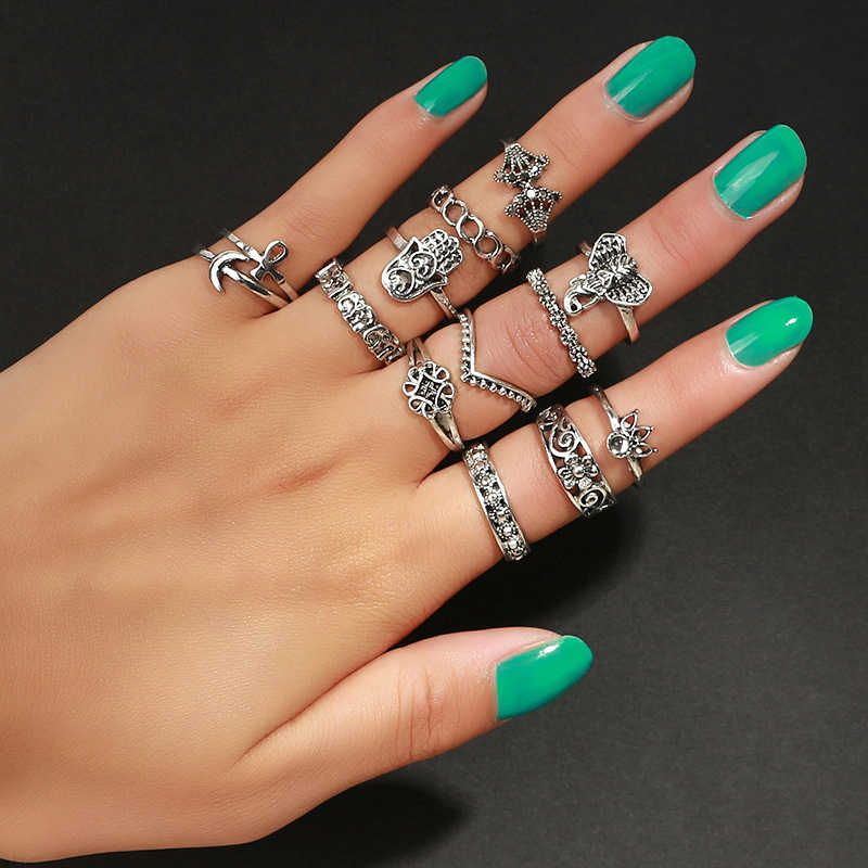 MYHFKK13pcs / Set of Bohemian Style Vintage Silver Plated Elephant Hollow Flower Ring Set for Women Ring Beach Jewelry JZ008