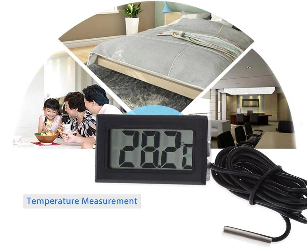 Mini Convenient Digital LCD Thermometer Sensor Hygrometer Gauge Refrigerator Aquarium Monitoring Display Humidity Detector
