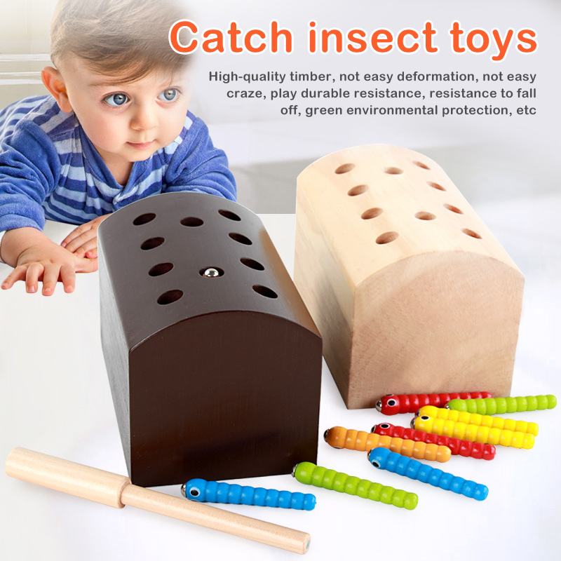Wooden Magnetic Worm Toys For Children Puzzle Game Early ...