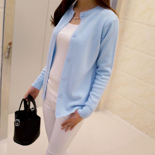 Hotsale 2016 primavera cuello redondo cardigan sweater Mujeres Sueltan Sweter Chaqueta de algodón mercerizado color sólido salvaje Delgado Mujer