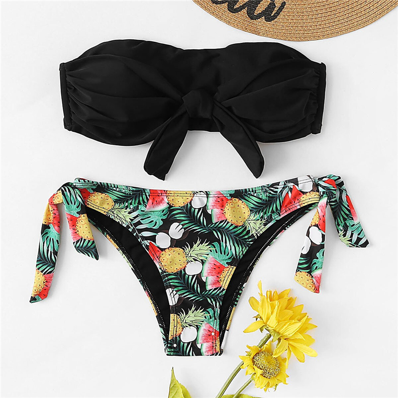 Romwe Sport Bikinis Set Knot Front Halter Top With Floral Tropical Print Tie Side Bottoms Swimsuit Women Summer Sexy Swimwear 12