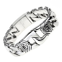 23mm Wide Men S Biker Vintage Stainless Steel Bracelet Knot Biker Link Chain Bracelets Bangles Dragon