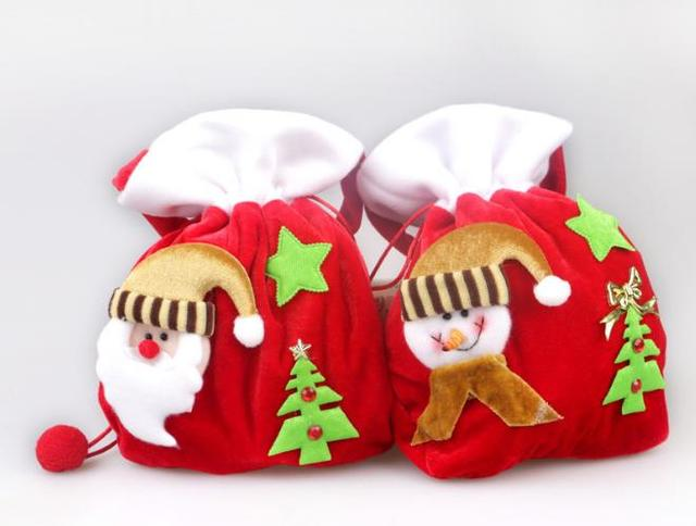 High quality christmas bags gold velvet christmas gift bags santa