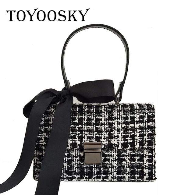 TOYOOSKY 2017 new flap bag ladies fashion woolen crossbody bags women's handbags elegant panelled messenger bags for girls