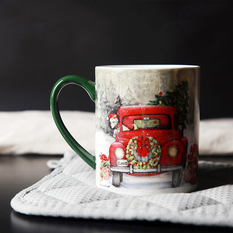 picture relating to Printable Mugs Wholesale titled US $14.31 10% OFFHigh Good quality Xmas Automobiles Posted Espresso Mugs Thicken 450ml Porcelain Handgrip Ceramic Cups Adorable Cup Wholesale Drinkware-inside of Mugs