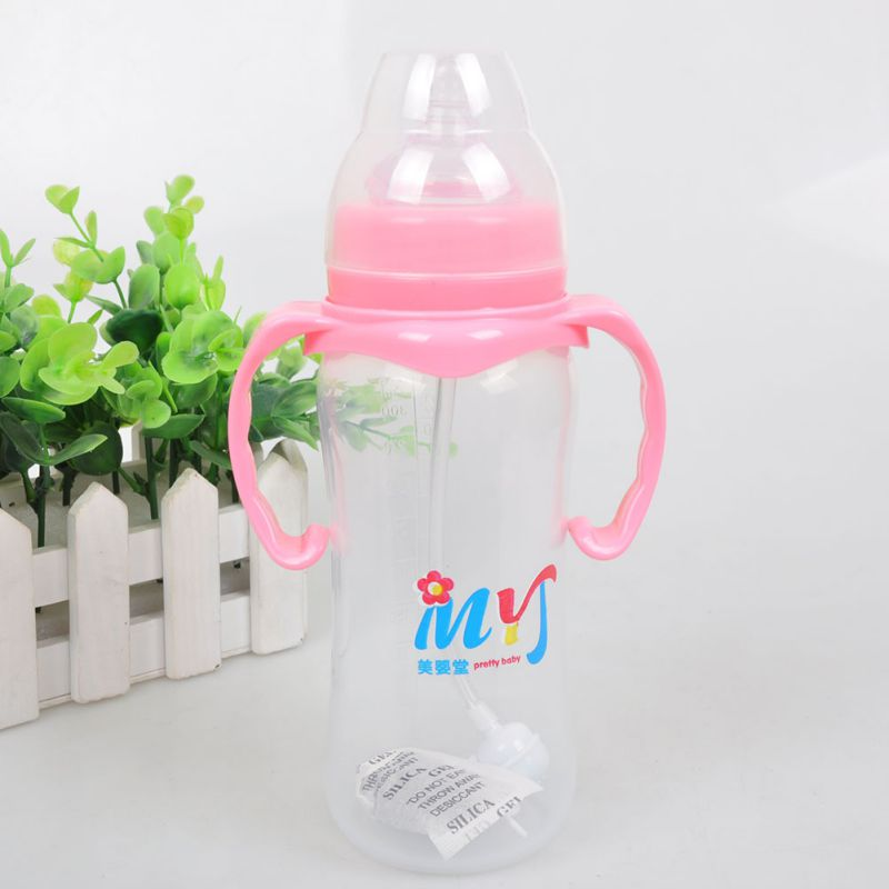 Newborn Infant Milk Feeding Nipple Bottle Baby Infant Nursing Milk Feeding Bottle with Handle Learn Drinking