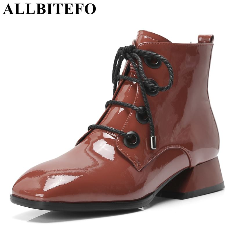 ALLBITEFO natural genuine leather women ankle boots high quality ladies girls fashion motorcycle boots Autumn Winter shoes botas allbitefo natural genuine leather snake texture cow leather women ankle boots fashion sexy motorcycle boots girls winter shoes