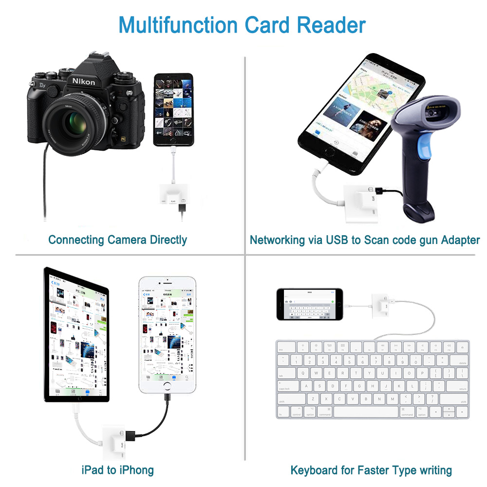 2019 New For Lightning To USB 3 Camera Reader OTG Adapter Connection Kits Data Sync Charge For iPhone X/XR/XS/8/7Plus/iPad/iPod