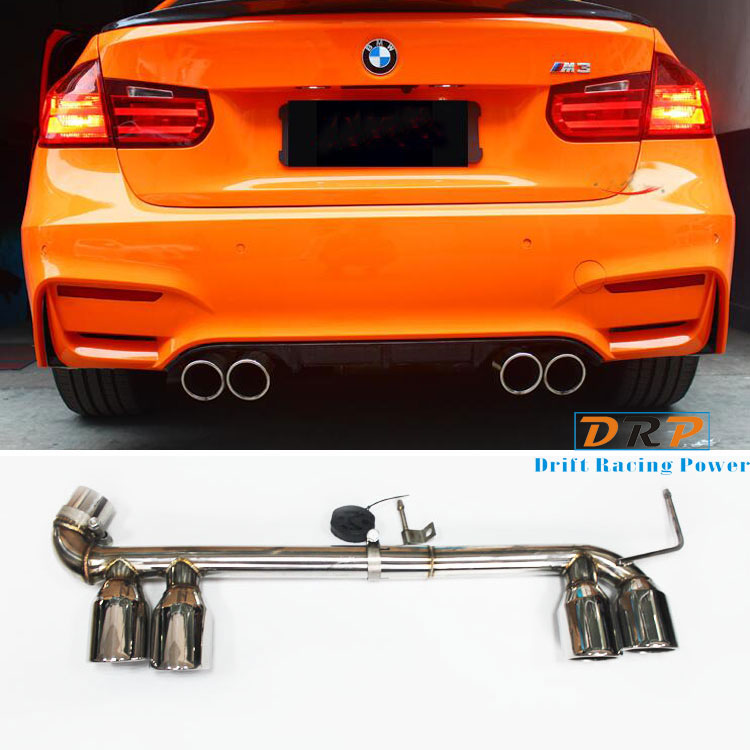 Hot! Two type of bilateral double carbon fibre and stainless steel tail throat fit 13-16 BMW 3 Series modified M3,320,F35,F30