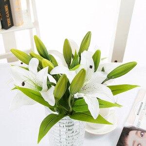Image 4 - Diy 3 cabeças de toque real artificial lírio flores casamento nupcial falso flores buquê plantas lírio branco decoração festa em casa para exibição
