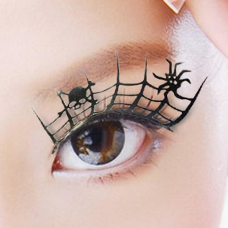 1pair Paper Cut Spider False 3d Lashes Beauty Cosplay Fake Eyelashes