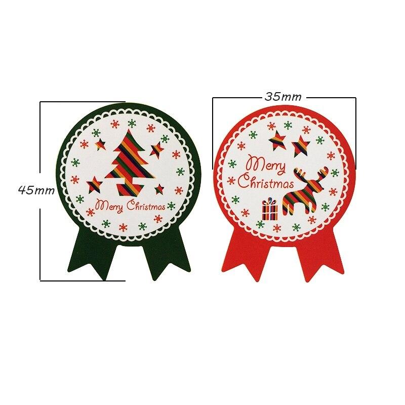 Купить с кэшбэком 80pcs/lot Red Green Merry Christmas Tree And Deer Sealing Stickers Decoration Label Stickers DIY For Gift Cake Baking Sticker