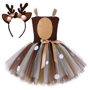 Рождественские платья для маленьких девочек, вечерние платья на Рождество, костюм северного оленя, новогоднее Сетчатое платье-пачка с повя...