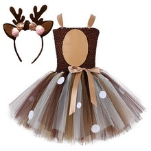 Dziewczynki wigilia sukienka świąteczna up sukienek renifer świętego mikołaja kostium nowy rok Tutu sukienki siateczkowe karnawałowe przebranie
