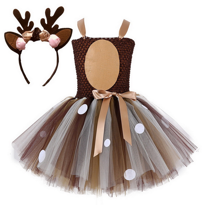Little Girls Christmas Eve Xmas Dress Up Party Dresses Santa Reindeer Costume New Year Tutu Mesh Dresses Up With Headband 2018