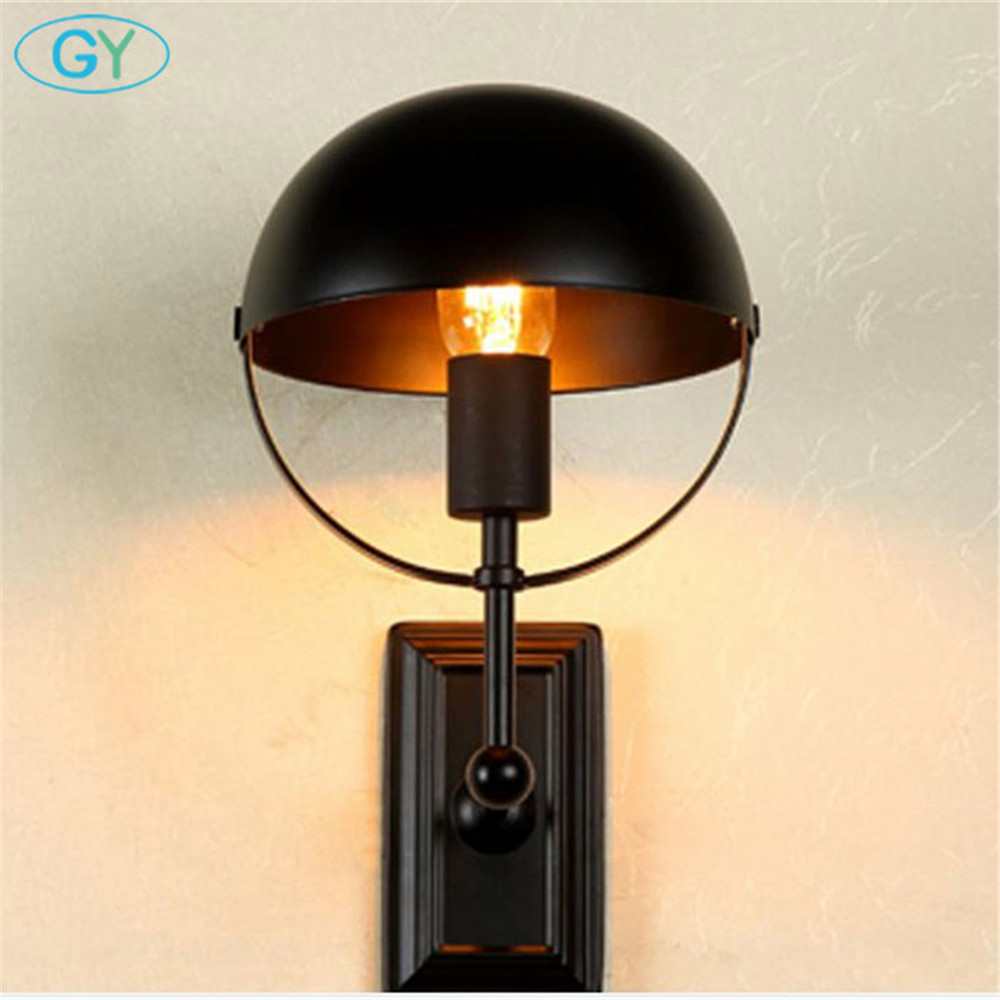 AC100 240V black Wall American country retro bedside lamp balcony ...