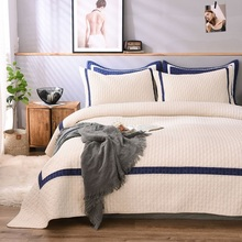 CHAUSUB France White Quilt Set 3PCS Bedspread Cotton Quilts Bed Cover Sheets Embroidered Shams King Queen Size Coverlets