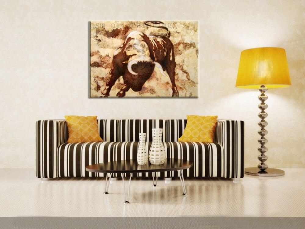 Peint à la main décoratif mur œuvre photo vache toile peinture à la main moderne Animal Bull peinture à l'huile sur toile pour la maison