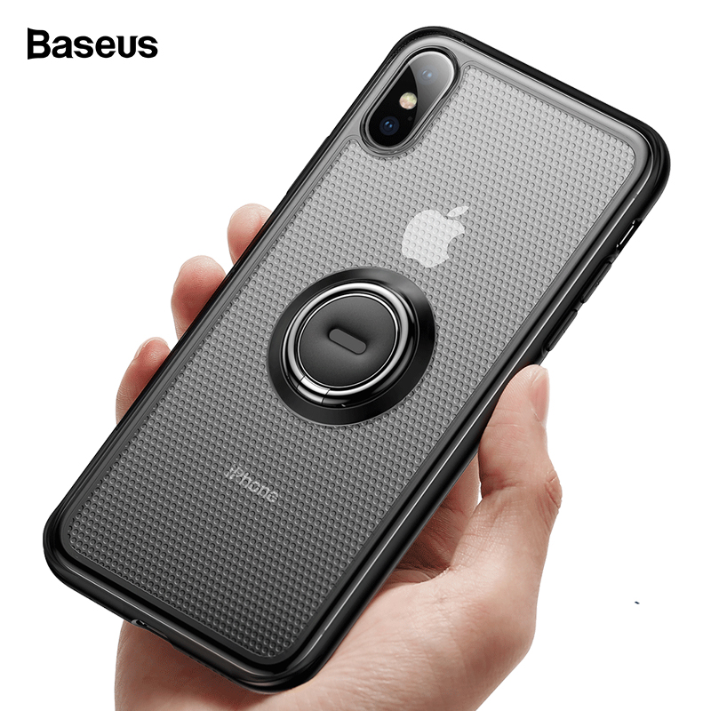 Baseus Kickstand Case For iPhone Xs Max Xr X S R Coque Cover Soft TPU Finger Ring Holder Case For iPhoneXs Protective Capa