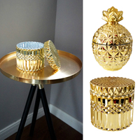 Glass Gold plated Jewelry Box Decorative Tank Gold Storage Candy Jar Wedding Adornment Container for Eating with Lid Bottle