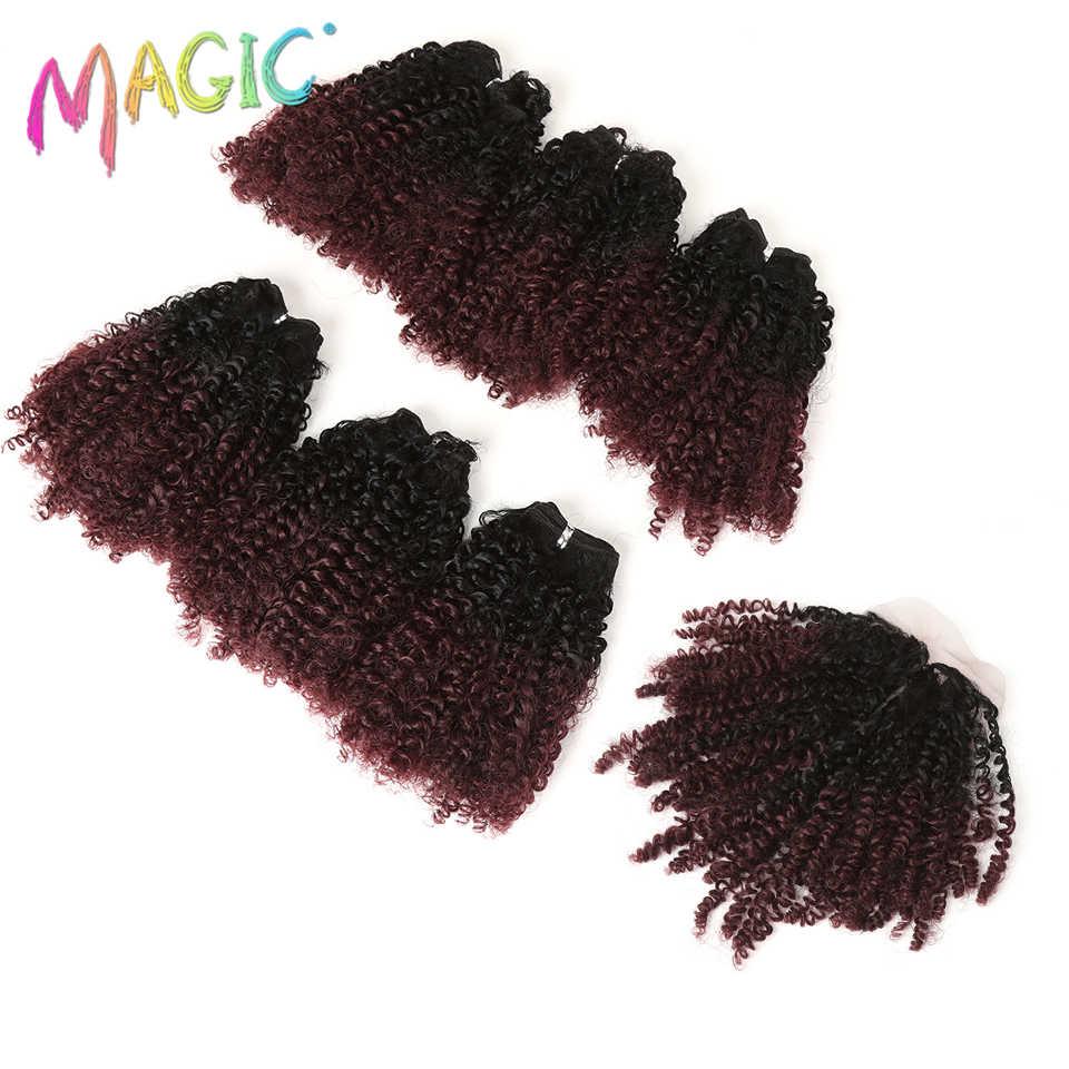 Pelo rubio Afro de 14 pulgadas, pelo rizado, entretejido, 7 unids/lote, extensiones de pelo sintético, 6 mechones con cierre para mujeres negras