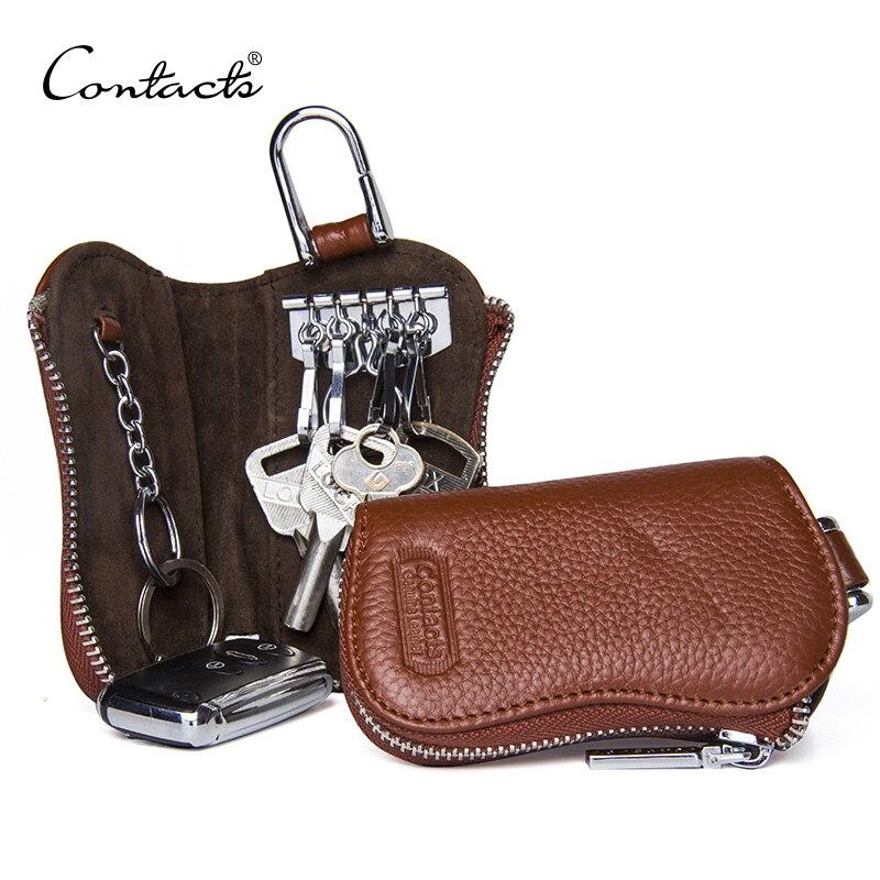 CONTACT'S Cow Leather Keys Wallets For Men Mini Key Holder Women Fashion Key Purse Small Housekeeper Card Key Holders Keychain