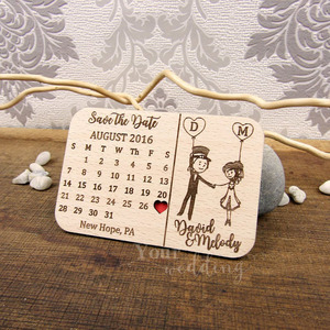Image 2 - 사용자 정의 날짜 저장 나무 자석, 웨딩 우드 호의, 손님을위한 새겨진 나무 웨딩 선물 웨딩 기념품 장식