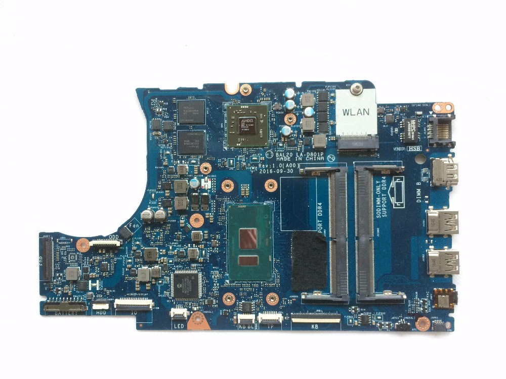 CN-0KFWK9 0KFWK9 KFWK9 BAL20 LA-D801P DDR4 PCB Conseil Principal w/i7-7500U Intégré CPU pour Dell 5567 5767 Ordinateur Portable