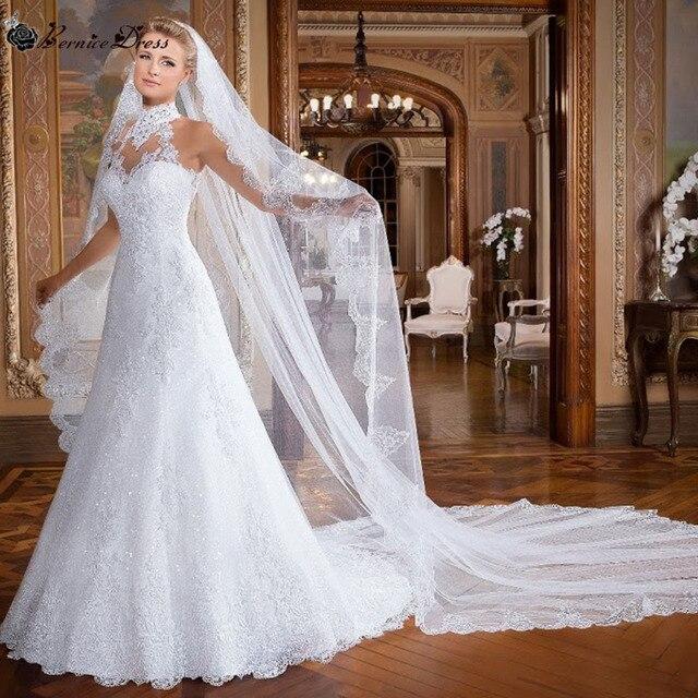 vintage magnífico encaje del vestido de boda vernassa cuello alto