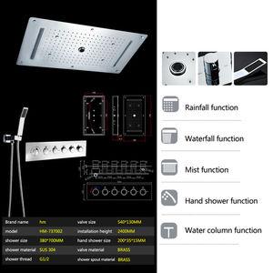 Image 5 - Zestaw prysznicowy łazienkowy akcesoria kran Panel dotknij ciepła i zimna woda mikser LED sufitowa głowica prysznicowa opady deszczu prysznic wodospad hm
