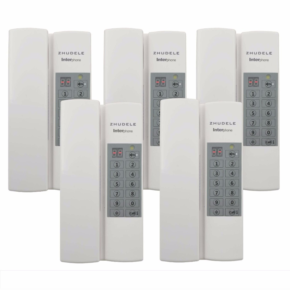 ZHUDELE Multi-function home security Interphone 5 handles, safe audio doorphone/intercom system 99 handle extenable+Power supply