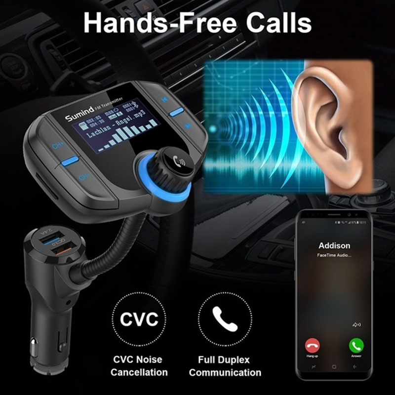 Vehemo со системой «Хендс-фри» и Bluetooth 4,2 АВТО музыкальный приемник автомобиля Bluetooth ресивер стерео Универсальная гарнитура Mp3