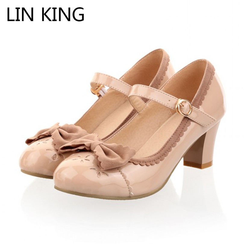LIN KING New Princess Lolita Bowtie Cute Sweet Japanese Women Shoes Cosplay Maid Anim Shoes Student Girls  PU Leathe woman pumps spring 2017 new japanese beaded lace bow laser detachable shoes soft sister student lolita shoes cosplay women high heel pumps