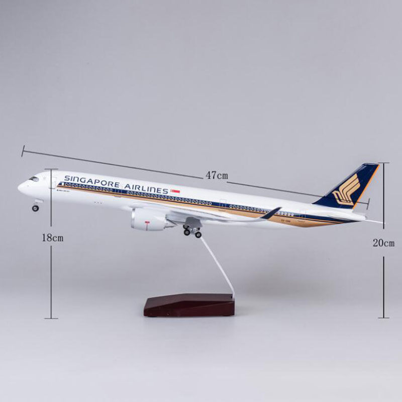 1 142 Scale Airbus A350 47CM Airplane Singapore Airline Model W Light Wheel Diecast Plastic Resin