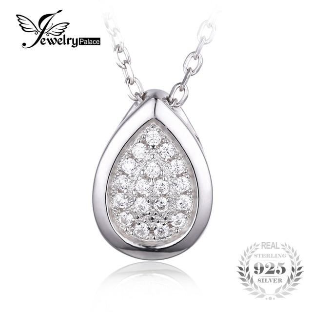 Jewelrypalace 925 sterling silver cubic zirconia teardrop colar de cadeia pingente de colar de 18 polegadas para as mulheres finas jóias
